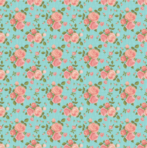 Turquoise Rose Floral & Dots Printed Vinyl