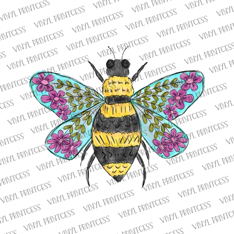 Floral Bee HTV Transfer  - Pre-Cut Heat Transfer Decal