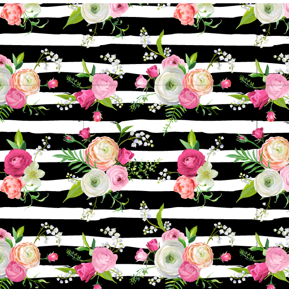 Boho Floral & Stripes Patterned Vinyl - Craft Vinyl