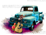 Watercolor Boho Truck Design  - Pre-Cut Heat Transfer Decal
