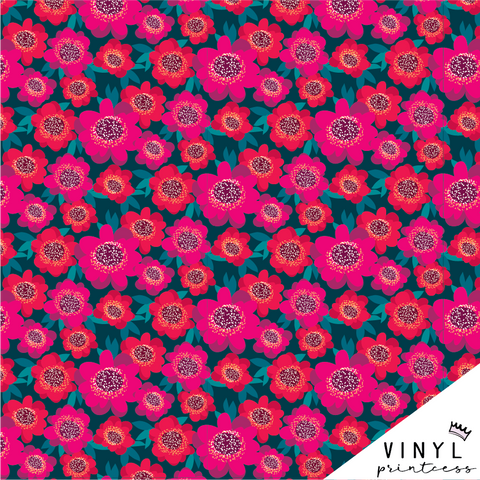 Fuchsia Flowers Floral Patterned Vinyl - Craft Vinyl