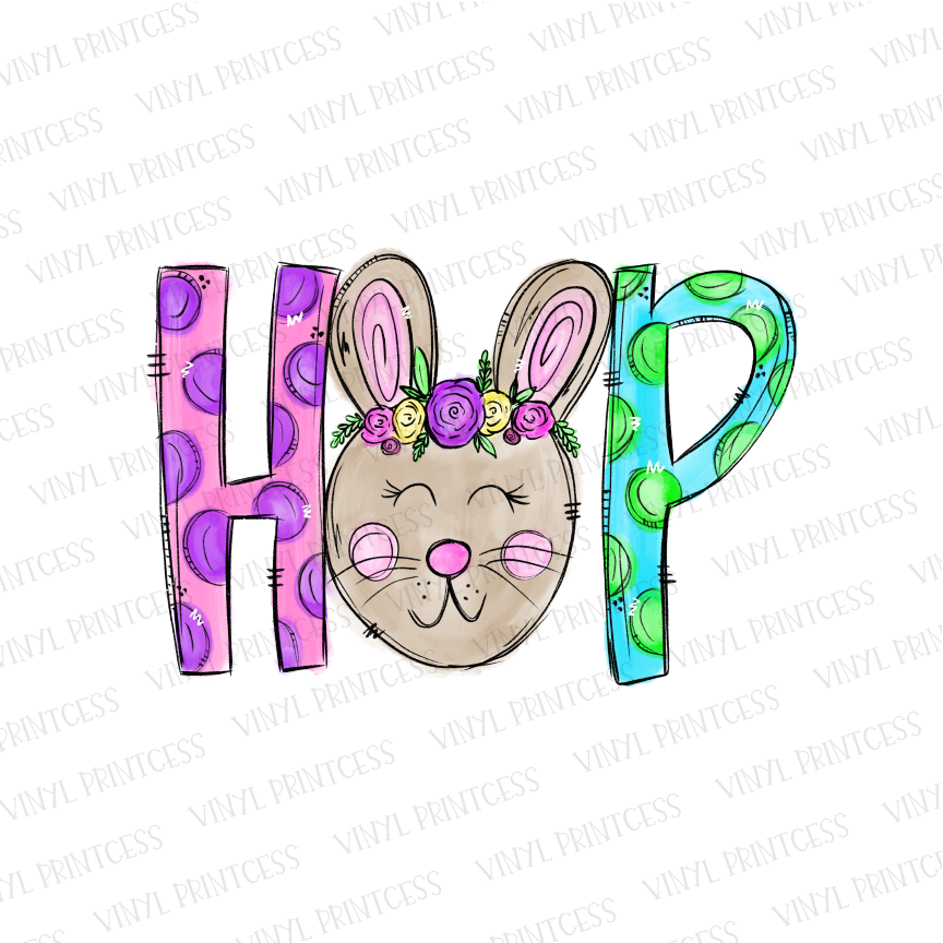 Easter GIRL Bunny Hop - Pre-Cut Heat Transfer Decal
