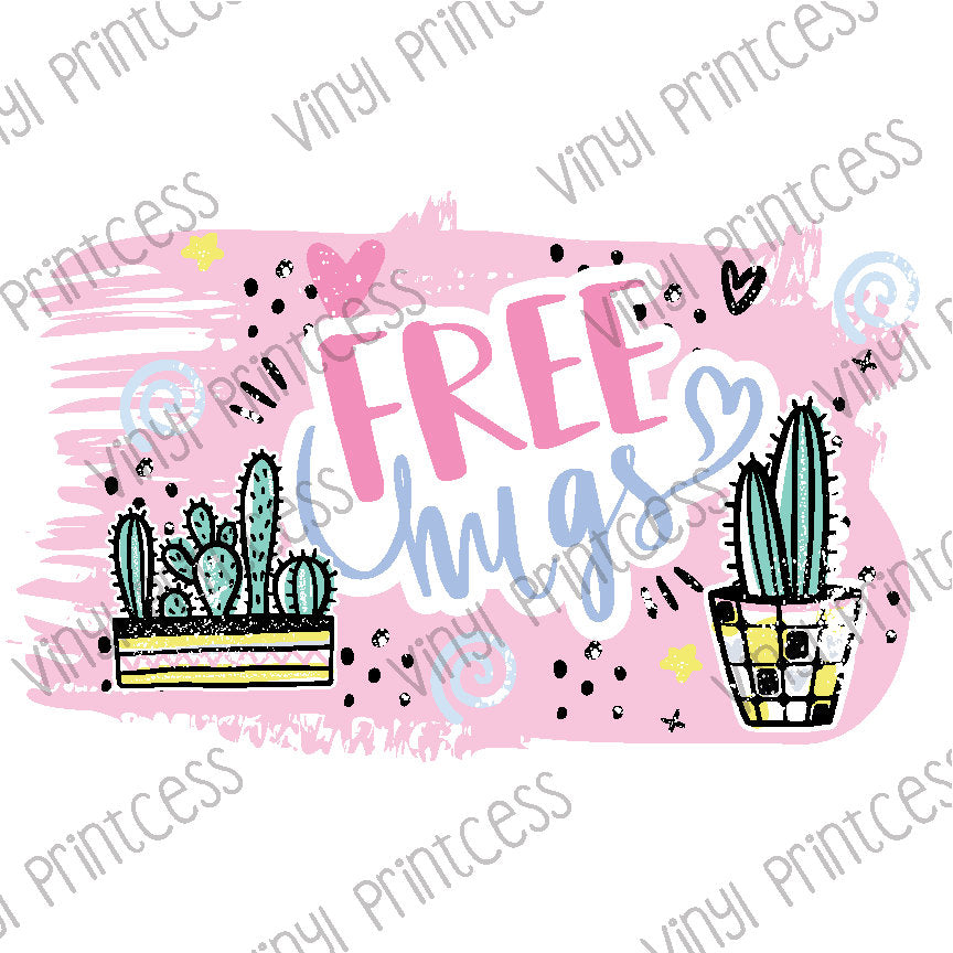 Cactus Free Hugs PNG Digital Download - Sublimation File Download - Cute Cactus Printable Digital Download