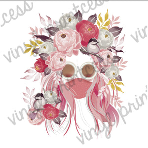 Boho Flowers & Birds in Her Hair Digital Download, Sublimation File Download - Mask, Floral Digital Download, Flowers