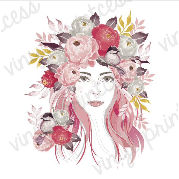 Boho Flowers & Birds in Her Hair Digital Download, Sublimation File Download - Floral Digital Download, Flowers