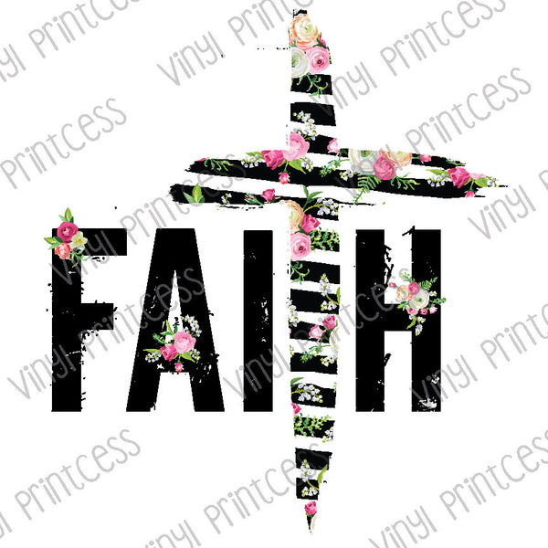 Faith Cross Floral Stripes PNG Digital Download - Sublimation File Download - Faith Flowers Printable Digital Download