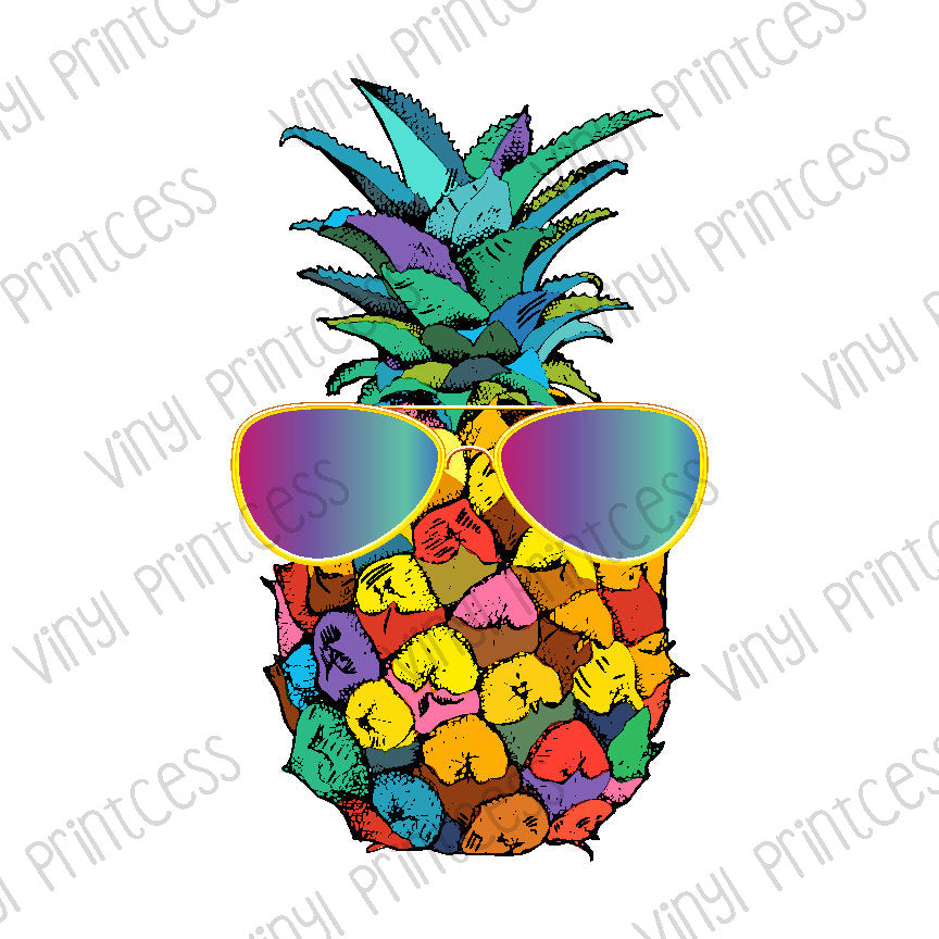 Pineapple with Sunglasses PNG Digital Download - Sublimation File Download - Tropical Rainbow Pineapple Digital Download