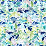 Indigo & Green Soft Abstract Floral Printed Vinyl
