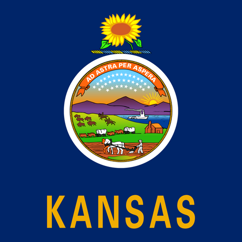 Kansas Flag - Square, Cropped Flag Printed Vinyl