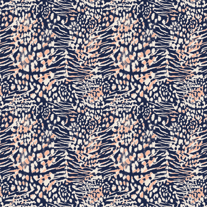 Navy and Coral Leopard Pattern Printed Vinyl