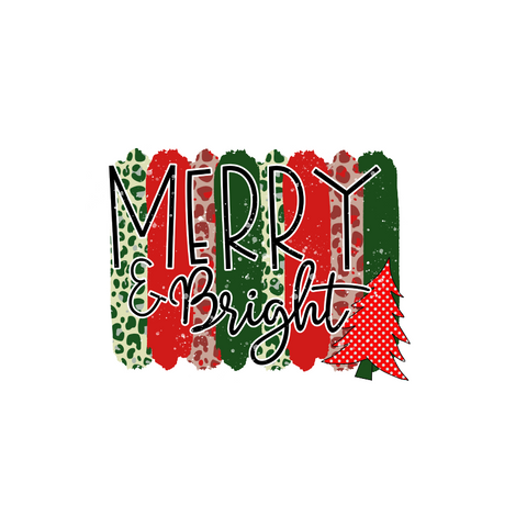 Merry & Bright Transfer - Pre-Cut Heat Transfer Decal