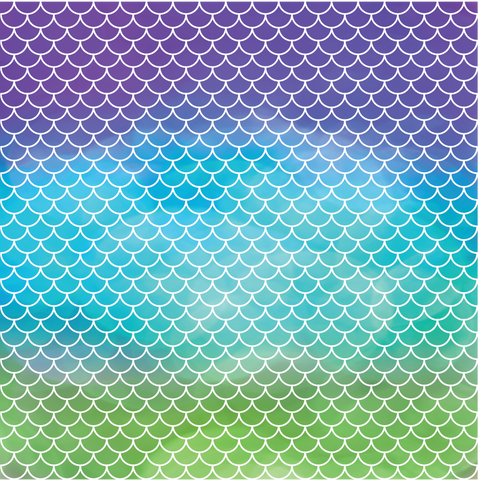 Mermaid Scales - Purple, Teal & Green Ombre Printed Craft Vinyl