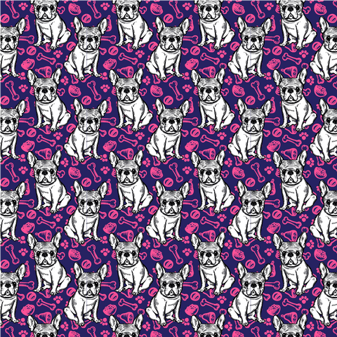 Pink & Purple Frenchies - French Bulldog Pattern Printed Vinyl