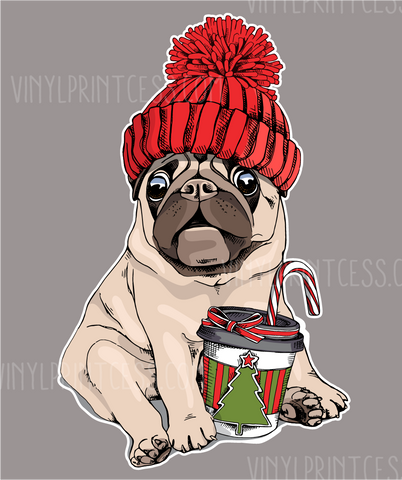 "Pug with a Mug - 9"" Pre-Cut Heat Transfer Decal"