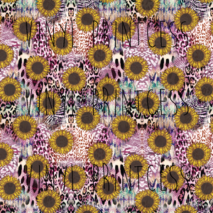 Purple Sunflower Leopard Cheetah Printed Vinyl - Craft Vinyl