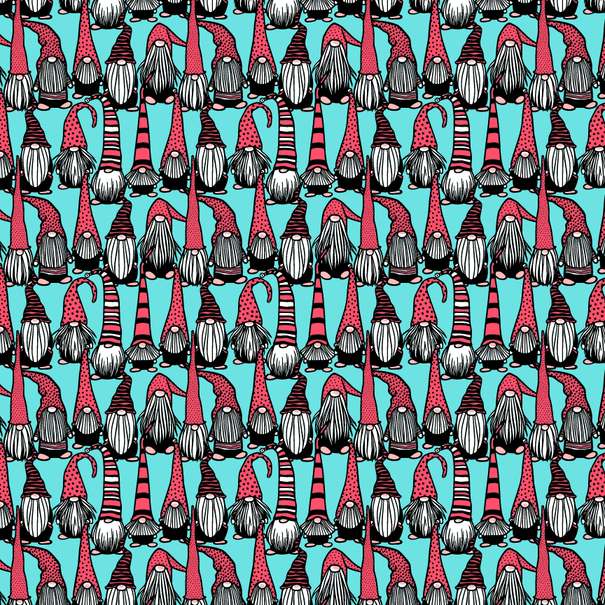 Gnomes on Teal Printed Craft Vinyl