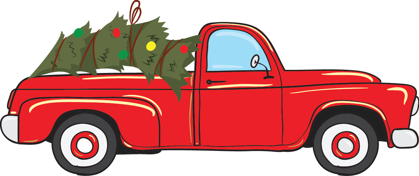 Vintage Red Christmas Truck - Pre-Cut Heat Transfer Decal