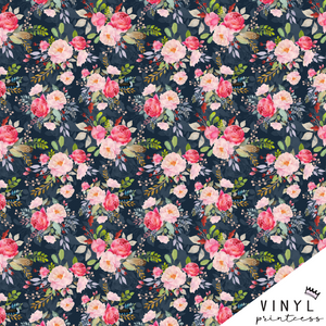 Sweet Pink Rose Floral Floral Patterned Vinyl - Craft Vinyl
