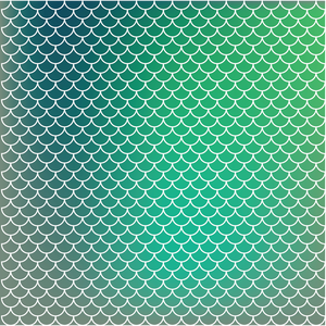 Mermaid Scales - Turquoise & Green Ombre Printed Craft Vinyl