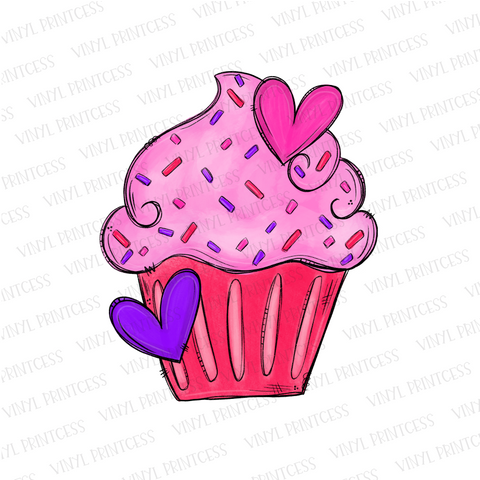 Valentine's Day Cupcake - Pre-Cut Heat Transfer Decal