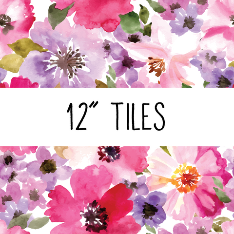 Watercolor Floral Patterned Vinyl - Craft Vinyl