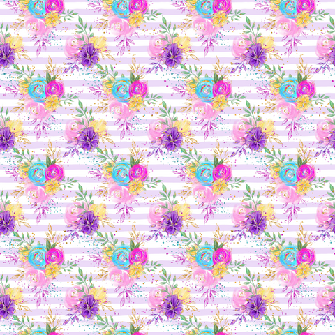 Whimsical Floral & Stripes Printed Vinyl