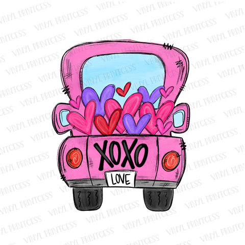 Valentine's Day Pink XOXO Hearts Truck - Pre-Cut Heat Transfer Decal