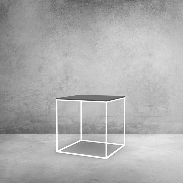 MoonSquare Side Table White Frame And Grey Table Top