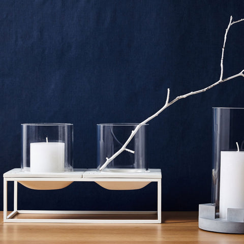 ALEX Candle and Tea Light Holder White Double