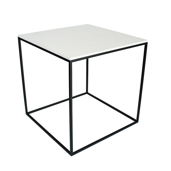 MoonSquare Side Table Black Frame And White Table Top