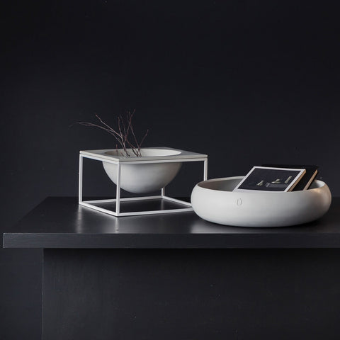 Moon Bowl Concrete Bowl White