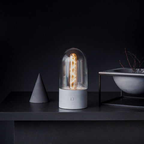 PILL Table Lamp Clear Shade and Grey Concrete Base