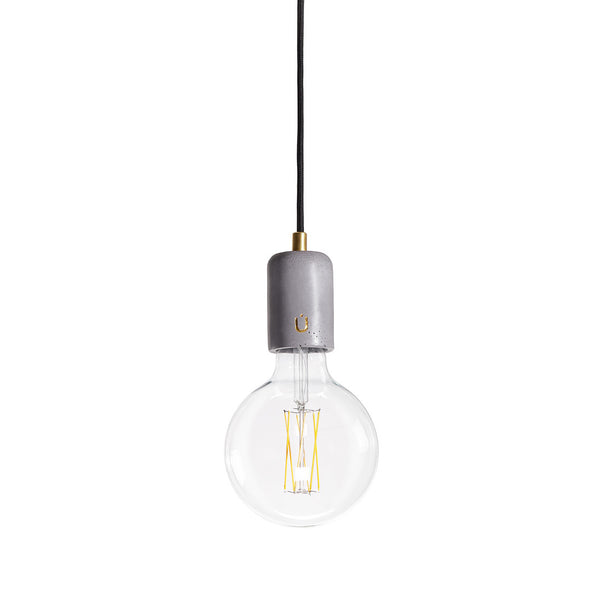 Concrete Pendant Lamp Short Mike Grey