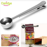 1 pcs Multifunction Stainless Steel Coffee Scoop  With Clip Coffee Tea Measuring Scoop 1Cup Ground Coffee Measuring Scoop Spoon