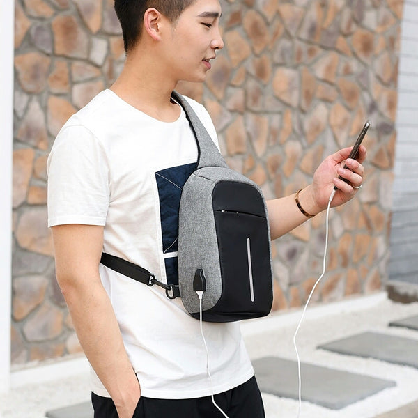 Backpack External USB Charge Computer Backpacks Anti-theft