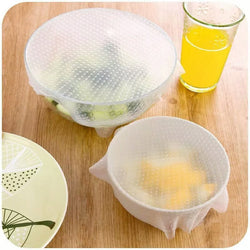 4 pcs Silicone Food Wraps Seal Cover Stretch - AmazingSolution