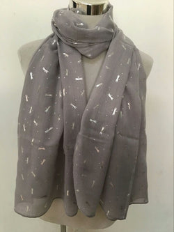 Fashion Dragonfly With Silver Foil Scarf