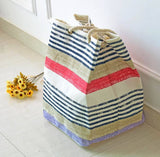 2 Designs Laundry Bag Foldable Storage Baskets Shopping Organizer Portable Shoulder Bags Home Use Storage Striped Beach Bags