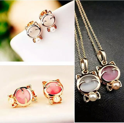 Fashion Cat Earrings With Necklace Plating Super Cute