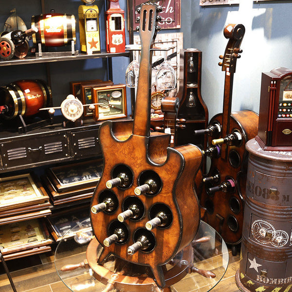 95 cm bass guitar multi-function wine ark creative wine rack Window display adornment Wooden crafts Business gifts