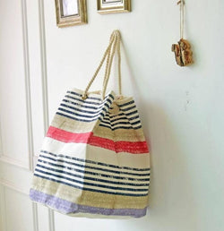 Alice, New design Coarse cotton rope personality streaks cotton shopping bag, waterproof bag, backpack bag, shopping bag