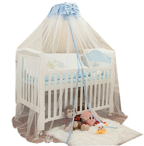 Baby Toddler Bed Crib Mosquito Netting Canopy Bowknot Dome Cot Mosquito Net Mosquito Bug Proof Mesh Drape with Bracket