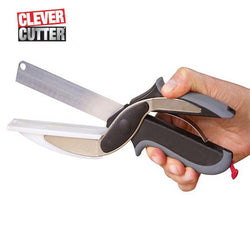 Clever Cutter 2 in 1 Kitchen Knife & Cutting Board Scissors Stainless Steel Kitchen Food Cutter Vegetable Knife Stainless Knife