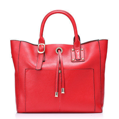 Famous Brand 100% Genuine Leather Shopping Bags