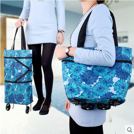 Fashion portable folding dual-purpose tug bag shopping bag