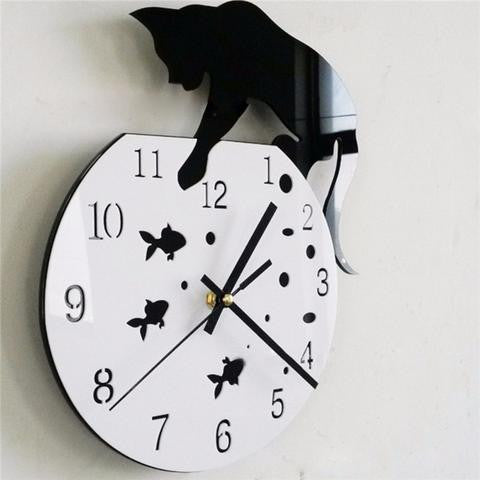 CAT AND FISH TANK WALL CLOCK