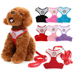 Small Dog Pet Puppy Harness and Leash Rope Set Breathable Mesh