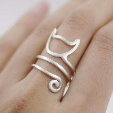 925 STERLING SILVER ADJUSTABLE CAT RING