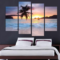 LOVELY BEACH SUNSET PANEL PAINTING