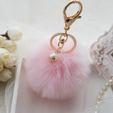 Sale 2016 New Rabbit Fur Ball Keychain Bag Plush Trinket Car Key Ring